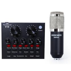 COMBO THU ÂM SOUND CARD V8 + MICRO WOAICHANG BM-900