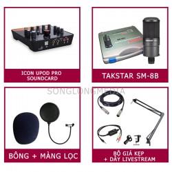 COMBO MICRO THU ÂM TAKSTAR SM-8B + SOUNDCARD UPOD ICON PRO