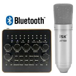 Trọn Bộ Thu Âm Hát Live Micro iSK AT100 + Sound Card V10 Bluetooth