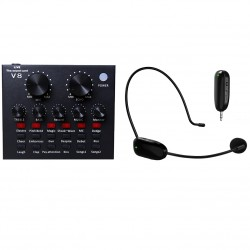 Combo micro livestream NEWGOOD UHF P11 + Soundcard V8 Bluetooth